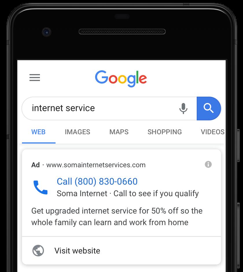 Трансформация объявлений Call Only. Google добавил кнопку для перехода на сайт Фото 1